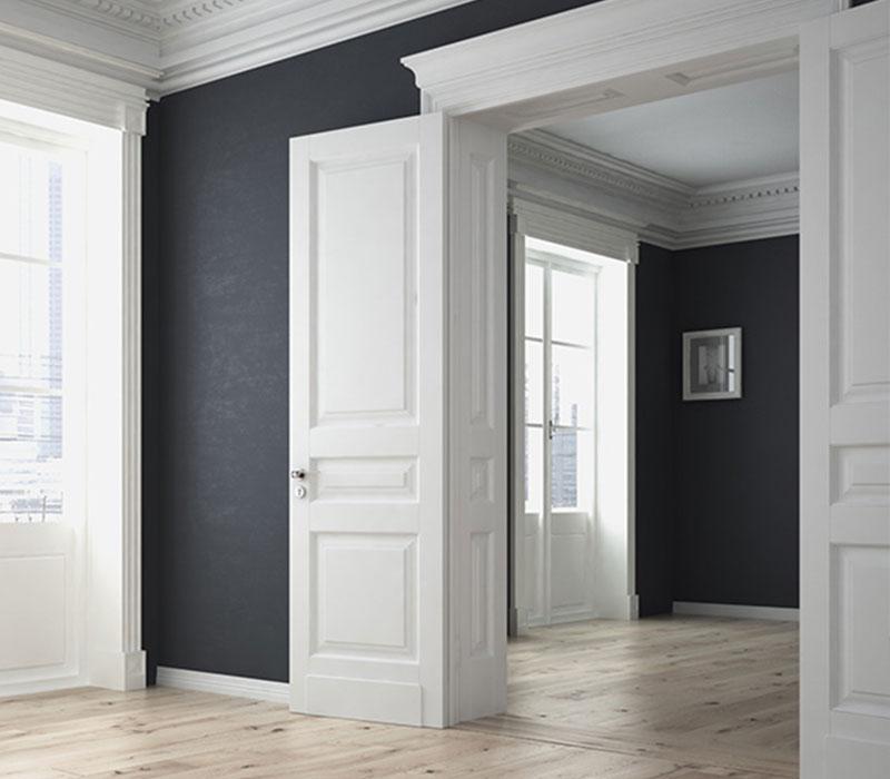 Malerarbeiten Wohnzimmer Blau/Grau